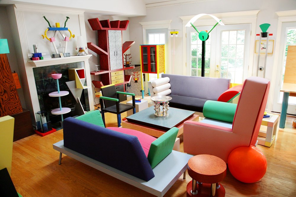 The  Memphis Group  founded by  Ettore Sottsass  in 1980 designed  Postmodern  furniture, fabrics, ceramics, glass, and metal objects. He was said to have been inspired by the quirky homes of Tiruvannamalai.  © Venturi Scott and Associates/Cervin Robinson