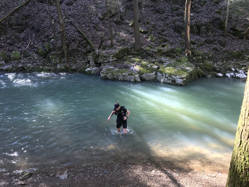 I caught Mike taking a dip in the creek near Turkey Foot.