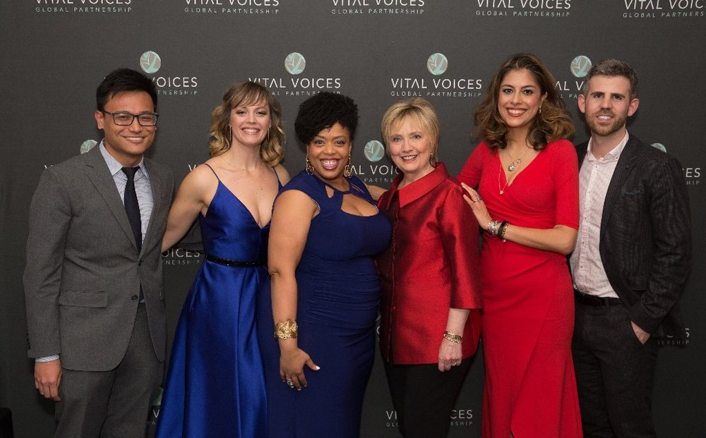 From left to right:  Joshua Cerdenia, Elizabeth Stanley, Angela Grovey, Hillary Clinton, Carla Canales, Kurt Crowley