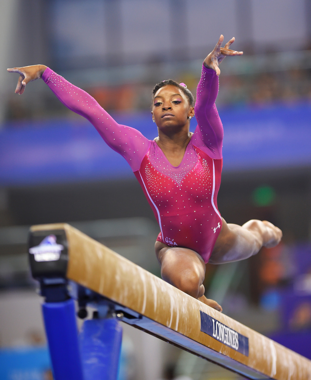 Simone Biles on the beam.  (Photo World Gymnastics Championships)