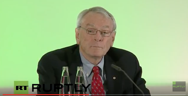 Richard Pound at Thursday's press conference in Munich.  (Ruptly TV stream image)