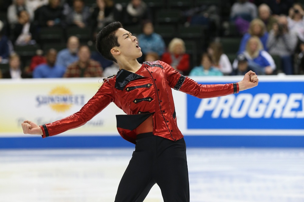 Nathan Chen during a short program when he made history by landing two quadruple jumps. (Photo:  U.S. Figure Skating / Jay Adeff)
