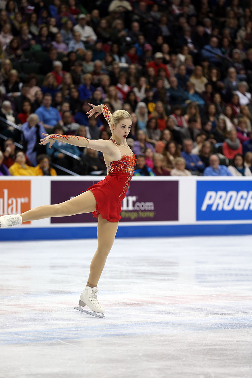 Gracie Gold using her arms as the Firebird's wings during the dazzling free program that won her second U.S. title.  (U.S. Figure Skating / Jay Adeff)