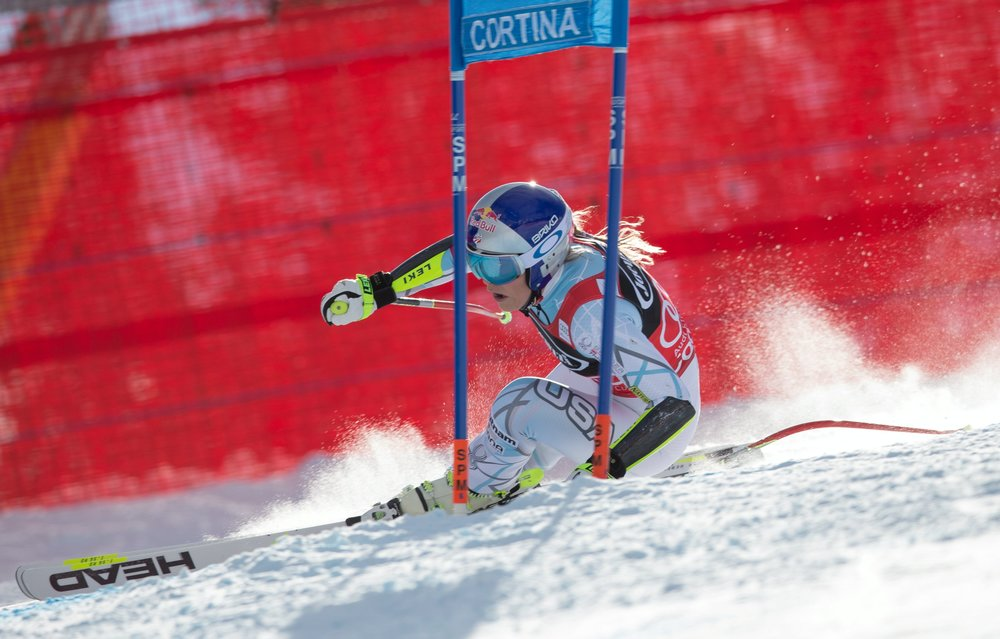 Lindsey Vonn winning the Jan. 24 World Cup Super G in Cortina d'Ampezzo, Italy.  (Erich Spiess/ASP/Red Bull)