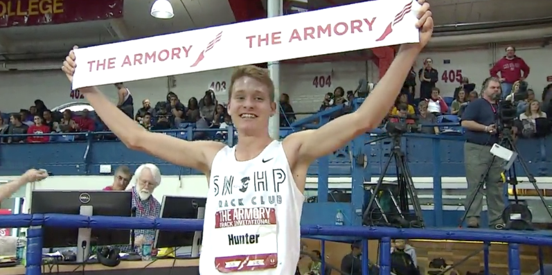 Drew Hunter after his sub-4 mile Feb. 6 (Image from USATF TV)