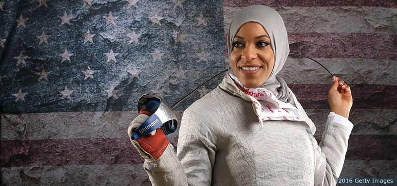 Ibtihaj Muhammad poses for a portrait at the 2016 Team U.S. Media Summit on March 9, 2016 in Los Angeles.