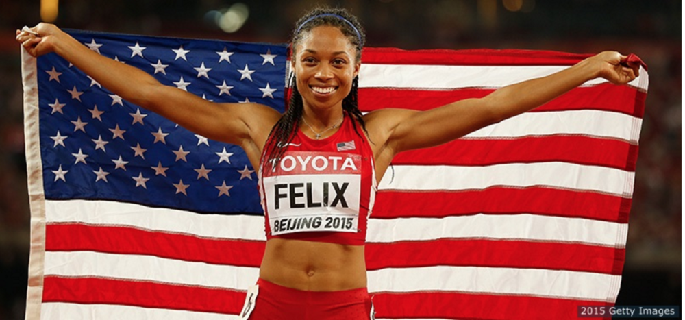 Allyson Felix after winning the 400 meters at the 2015 World Championships