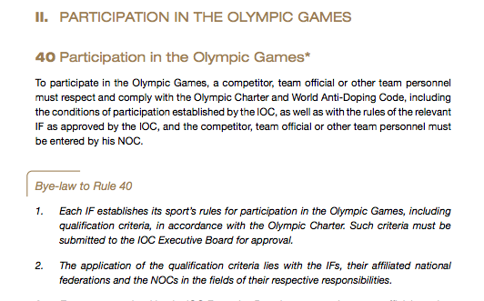 The Olympic Charter rules on participation.