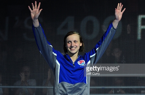 Expect this to be a familiar sight:  Katie Ledecky in a victory ceremony at 2016 Olympic Trials in Omaha.  This one was for the 400 freestyle.