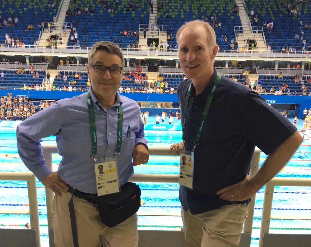 With my friend and long-time colleague Tim Layden of Sports Illustrated at the Rio Aquatics Center.  The 2016 Olympics began and ended for me at that venue.