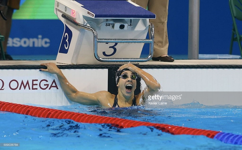 Maya DiRado after her upset win over Hungary's Katinka Hosszu in the 200 backstroke. DiRado had a full set of medal colors in individual events and a second gold in 4 x 200 free relay.