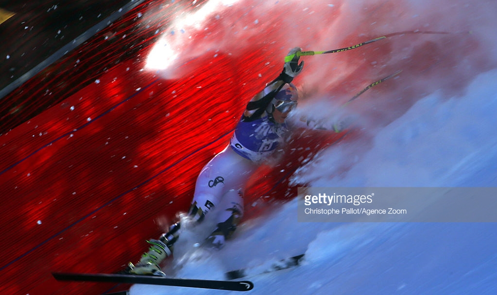 Lindsey Vonn goes into the netting after a downhill training crash at Cortina d'Ampezzo, Italy, last Friday.  Vonn crashed at the same spot in Saturday's World Cup race.