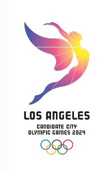"The L.A. 2024 logo, based on its slogan, ""Follow The Sun."""