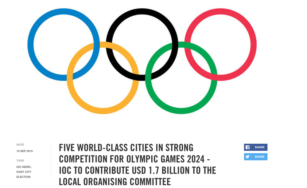 Screenshot from the International Olympic Committee web site.