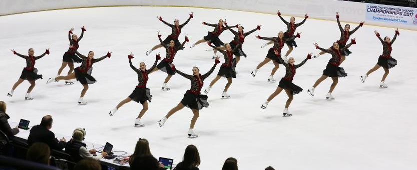 The Chicago Jazz in their free skate at last month's Junior National Championships.  (Jay Adeff photo courtesy of U.S. Figure Skating.)