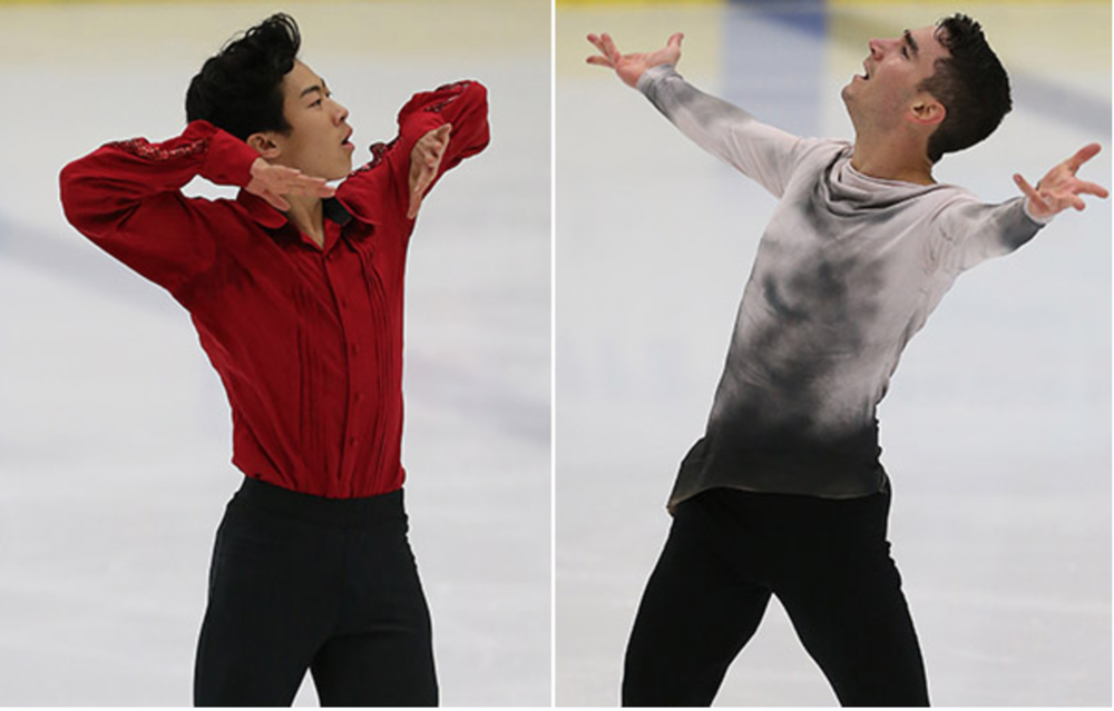 Nathan Chen (L) and Max Aaron are 1-2 going into Friday's free skate at the U.S. International Figure Skating Classic (IceNetwork photo)
