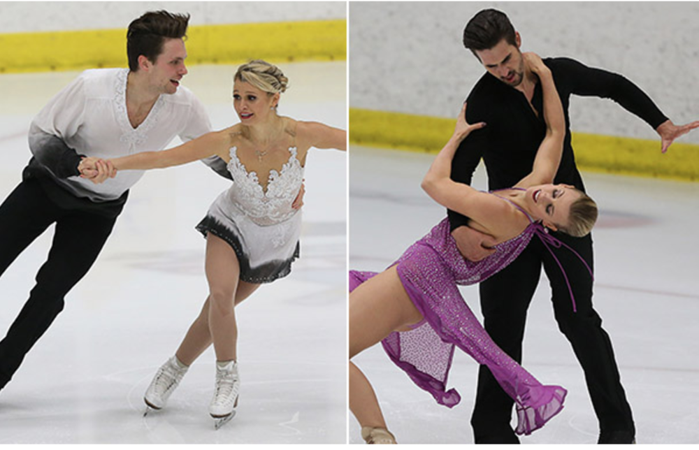 U.S. International Figure Skating Classic pairs winners Kirsten Moore-Towers and Michael Marinaro of Canada (left) and dance leaders Madison Hubbell and Zachary Donahue.  (IceNetwork photo)
