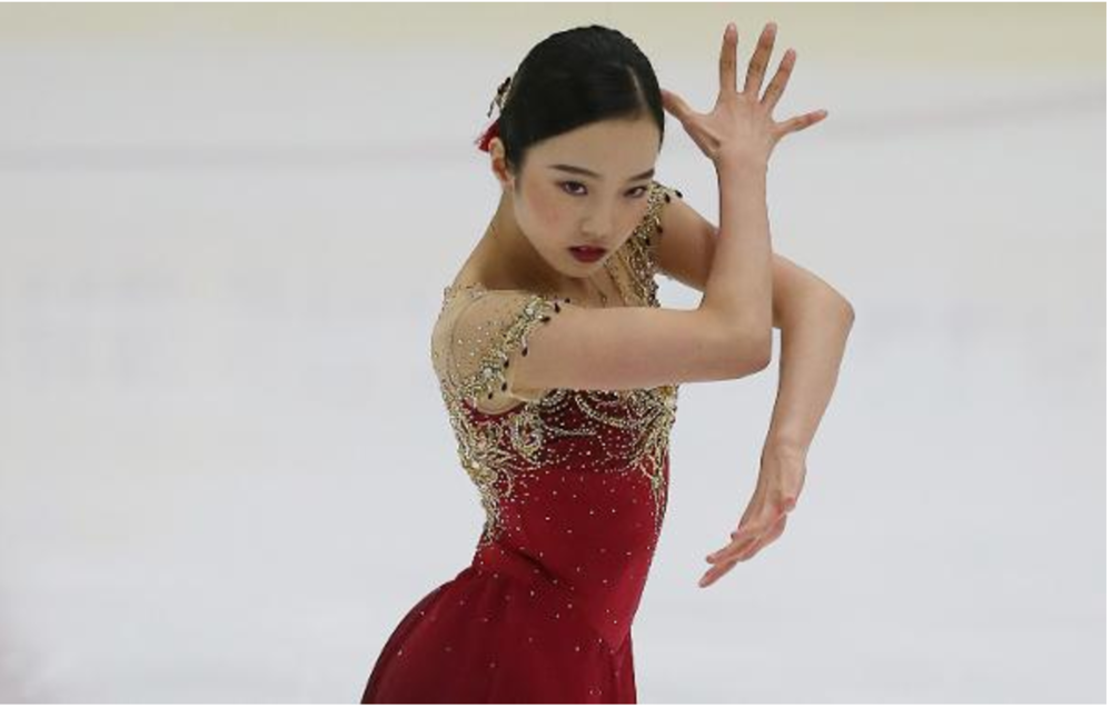 Marin Honda, 16, in her dazzling senior debut at U.S. International Figure Skating Classic.  Her 19 elements in two programs all received positive grades.  (IceNetwork photo)