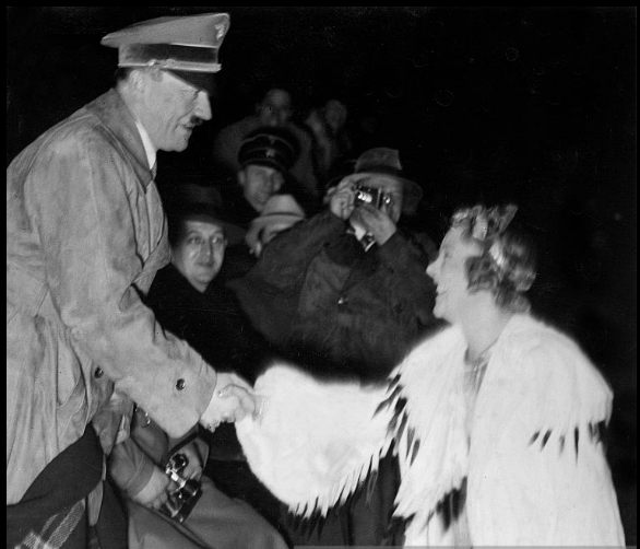 Adolf Hitler greeting Sonja Henie at a rink in Munich six weeks after the 1936 Winter Olympics, where she won a third straight women's singles title.  (Getty Images)