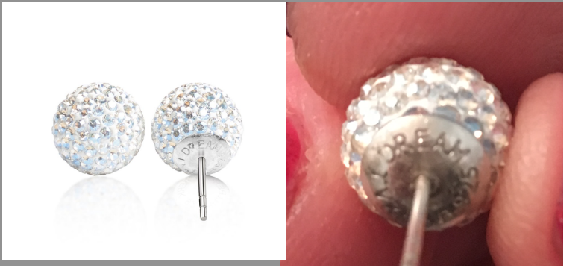 Earrings from the Tessa Virtue collection as seen on the Hillberg & Berk web site (left) and in photo of gift skaters received from the Canadian federation.