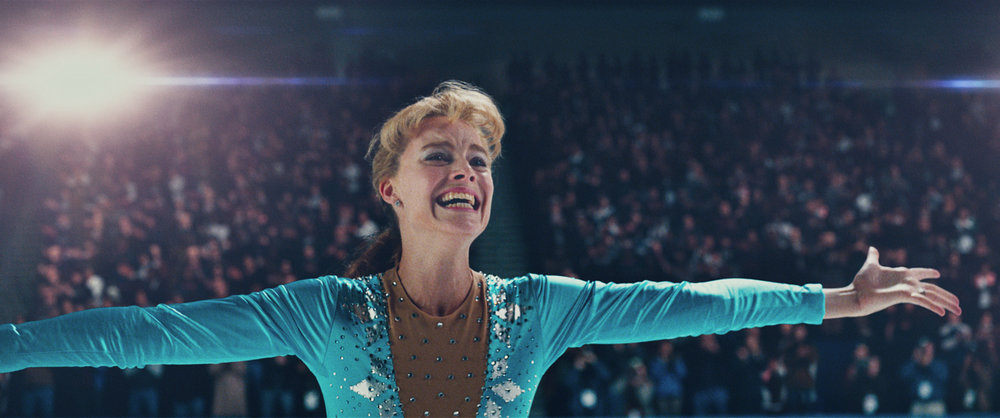 Margot Robbie recreating Tonya Harding's history-making moment of triumph at the 1991 U.S. Championships. (Film still courtesy of Neon and 30West.)
