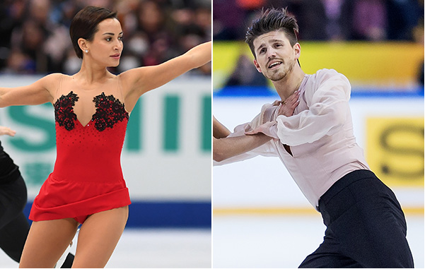 Russian pairs skater Ksenia Stolbova (left), a 2014 gold and silver medalist, and ice dancer Ivan Bukin have been barred from the 2018 Olympics, according to their skating federation. (Getty Images)