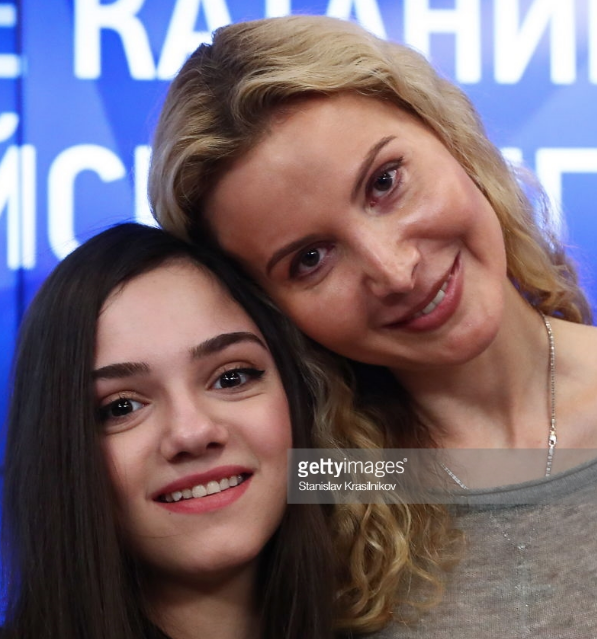 Evgenia Medvedeva (L) and Eteri Tutberidze at Moscow event after the 2018 Olympics.