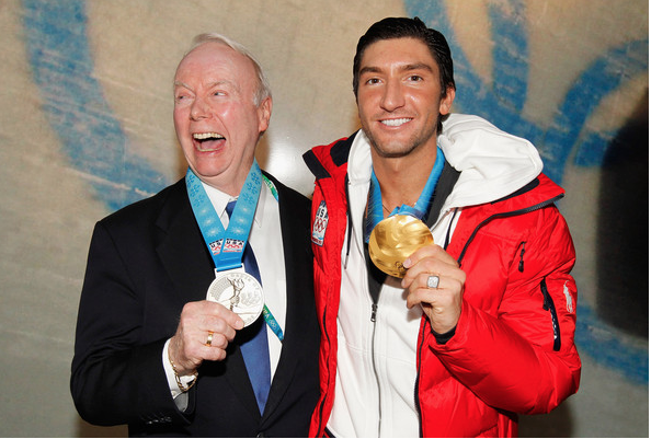 "A happy Frank Carroll after Olympic champion Evan Lysacek presented him with the Order of Ikkos medal at the 2010 Winter Games.  ""He owns just as much or more of my Olympic gold medal as I do,"" Lysacek said.  (Getty Images)"