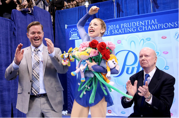 Scott Brown, Gracie Gold and Frank Carroll after Gold's triumphant free skate at the 2014 U.S. Championships.  (Getty Images)