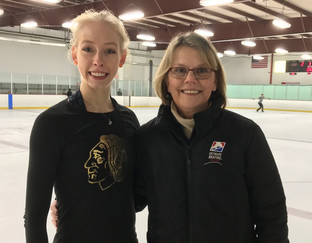 Bradie Tennell and coach Denise Myers during a break between her multiple practice sessions. (Philip Hersh photo.)