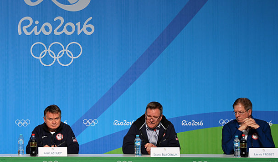 L-r: Alan Ashley, Scott Blackmun and Larry Probst at a press conference during the 2016 Olympics.