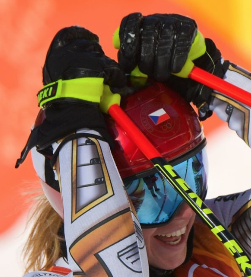 Ester Ledecká of the Czech Republic reacts with disbelief over her Olympic Super-G win (Getty Images)