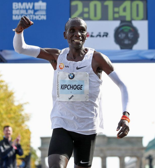 Eliud Kipchoge one second after smashing the world record at the Berlin Marathon.
