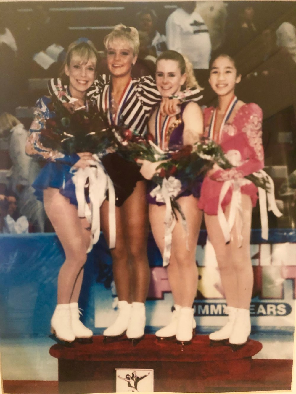 The original top four finishers in women's singles at the 1994 U.S. Figure Skating Championships: Left to right: Elaine Zayak (4), Nicole Bobek (3), Tonya Harding (1   )    and Michelle Kwan (2). (*-Harding was tripped of the title.)