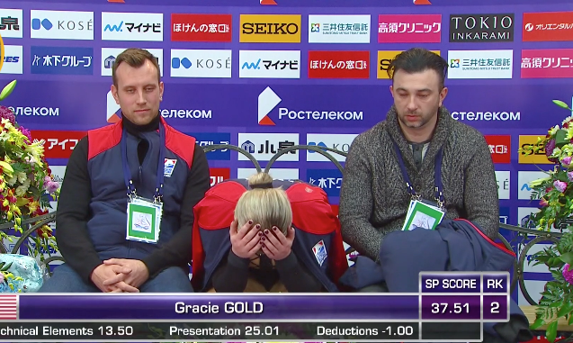 Gracie Gold reacts to her low short program score at the Rostelecom Cup in November. (Screenshot from NBC Sports Gold.)