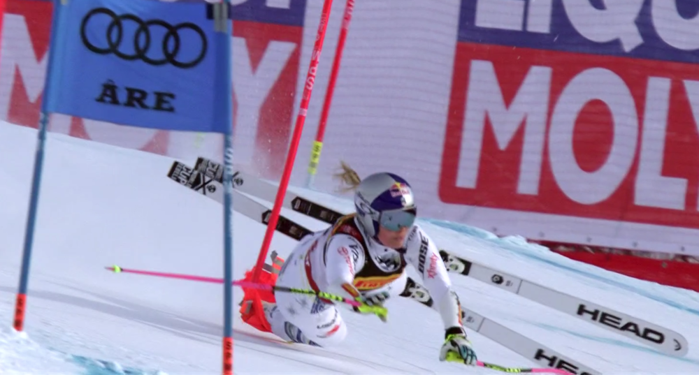 Lindsey Vonn's crash in Tuesday's Super-G at the World Alpine Championships in Are, Sweden. (Screenshot from NBCSN)