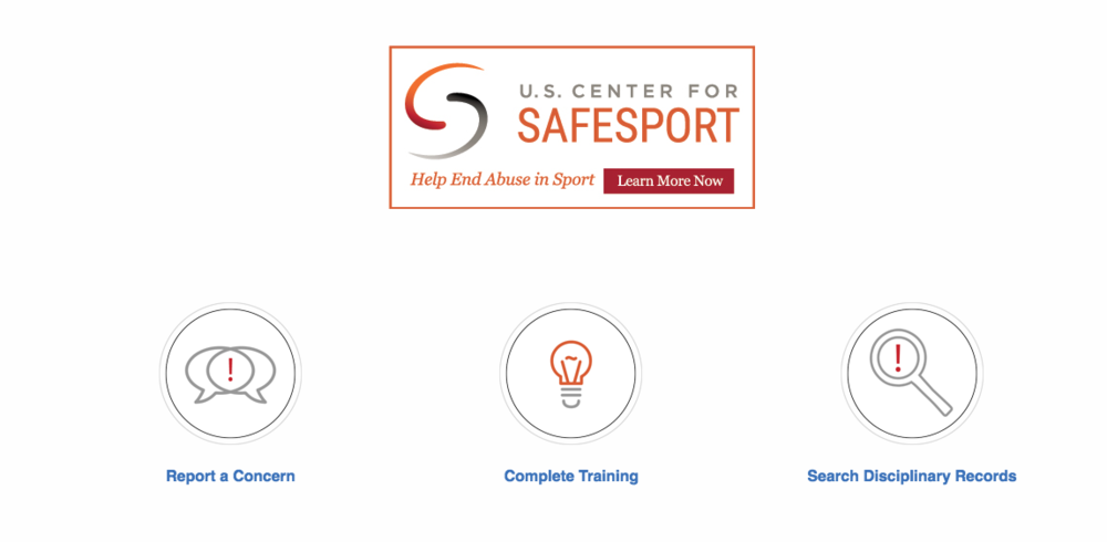Part of the U.S. Center for SafeSport's home page on the internet.