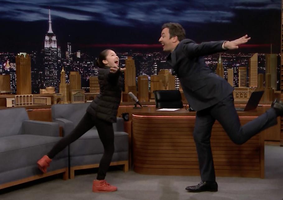 Alysa Liu demonstrating her warmup ritual with Jimmy Fallon on the Tonight Show. (Screenshot from NBC)