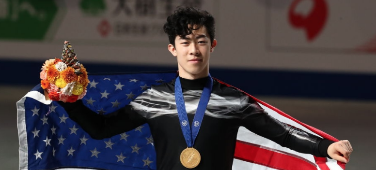 Old Glory, new glory: Nathan Chen became the first U.S. man in 35 years to win consecutive singles titles at the World Figure Skating Championships. (Getty Images)