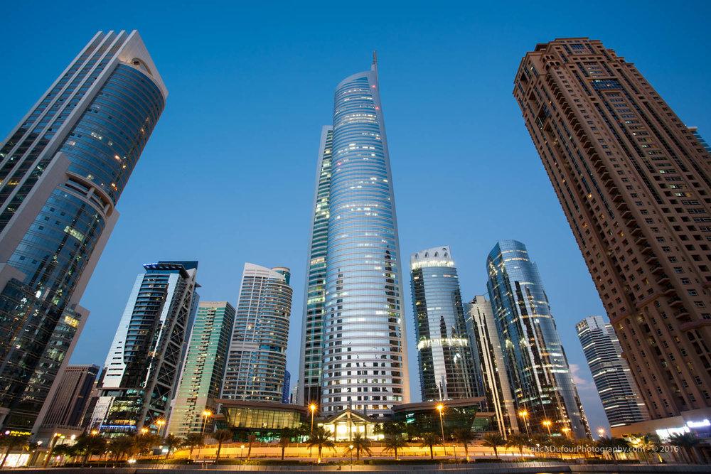 Jumeirah Lakes Towers at sunset (Dubai, UAE)