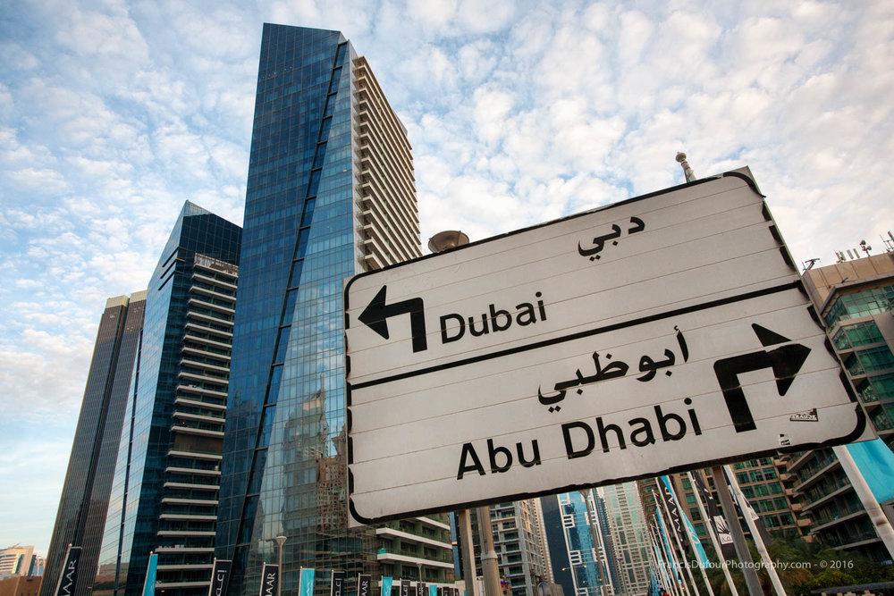 Road Sign in the Marina (Dubai, UAE)