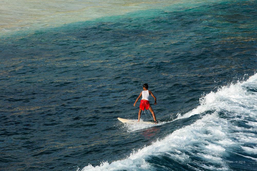 Surfing in Mushroom Bay