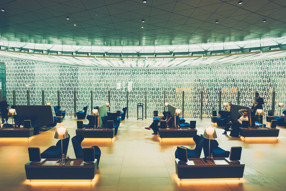 Qatar Airways Business Lounge - Hamad International Airport in Doha.