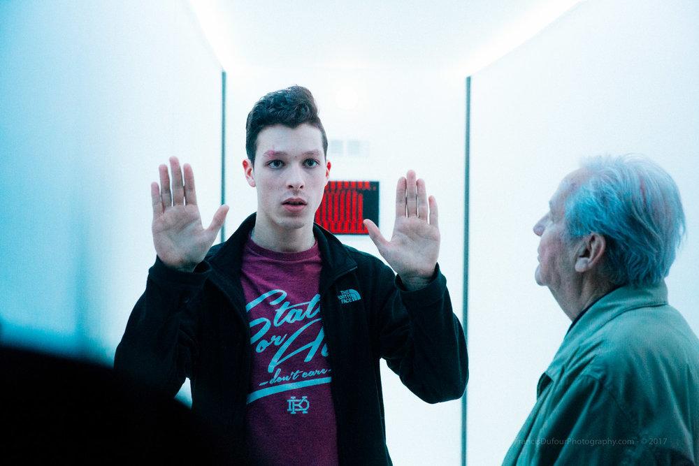 Film Director Jérémie Brochu-Dufour guiding Max Houle.