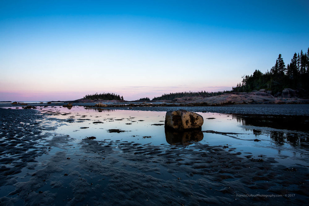 Pink sunset at low tide