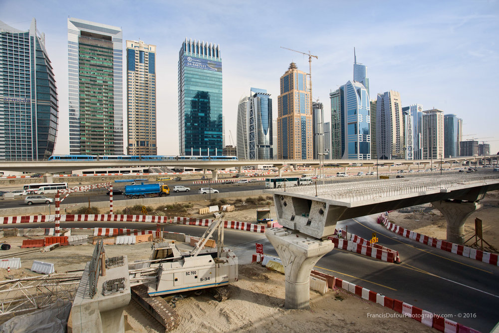 Unfinished road of the future tramway line (Dubai, UAE)