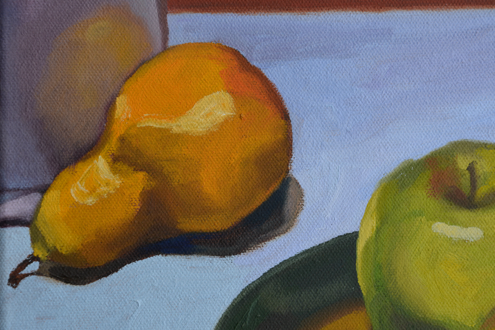 Still Life with Apples, detail, oil on canvas, 2007