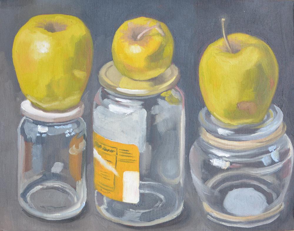 """Apples, 14x11"""", oil on board, 2006"""