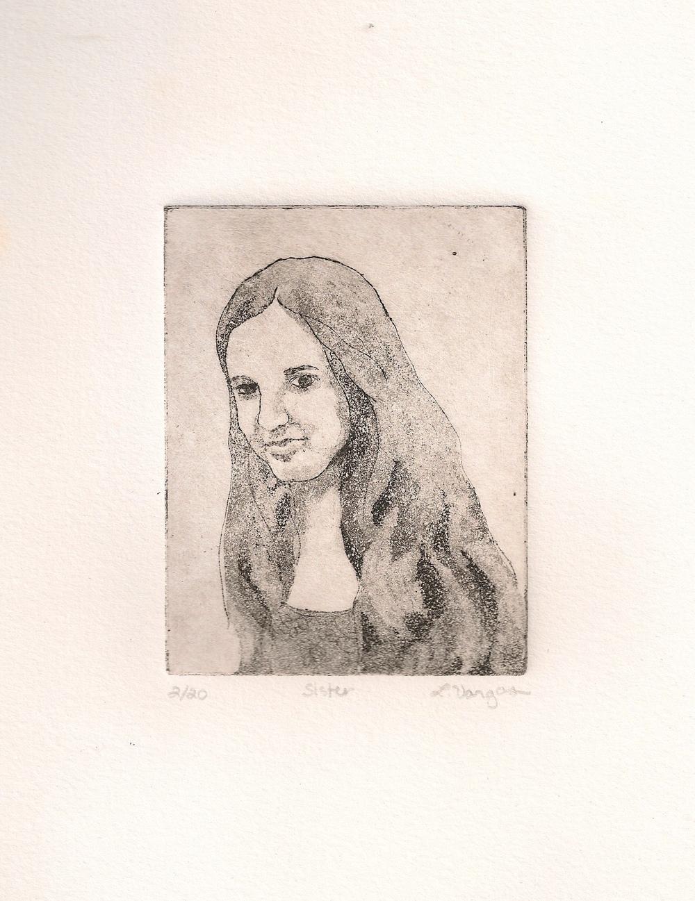 "Sissy, 3x3 7/8"", etching, 2010"