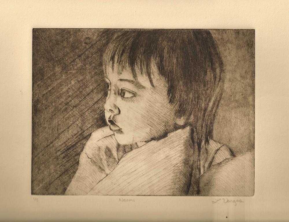 """Naomi, 7 7/8x6"""", etching, 2010"""